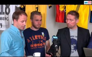 Arild Berg i Studio Glimt sammen med Trond Olsen og Freddy Toresen (programleder).