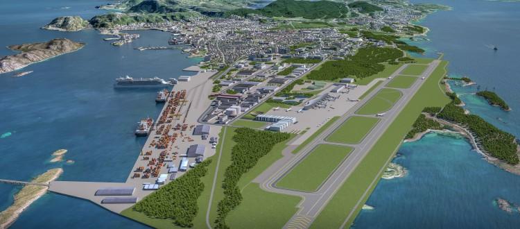 Ny by ny flyplass - fra sørvest