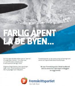 Bodø FrPs helsidesannonse i AN 27. mai 2015.