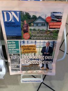 Ingenting på førstesiden i Dagens Næringsliv om krisen i Dagens Næringsliv.