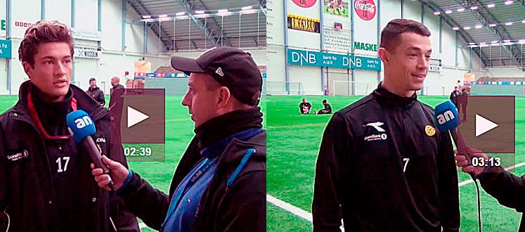 Mathias Normann (tv) og Fitim Azemin er bare glad for å fortelle ANs Stian Høgland at de er for gode for Glimt og Bodø. (FOTO: Skjermdump)